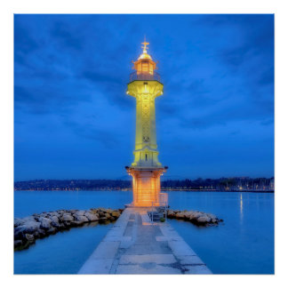 Lighthouse at the Paquis, Geneva, Switzerland Poster