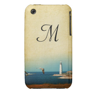 Lighthouse Beach Scene Monogram IPHONE 3 Cell Case Case-Mate iPhone 3 Case