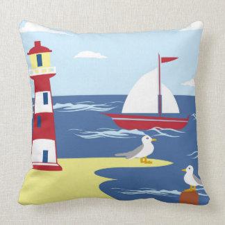 Lighthouse beach ship seagull  decor pillow