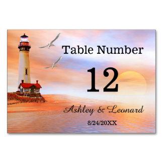 Lighthouse Beach Wedding Table Number Card