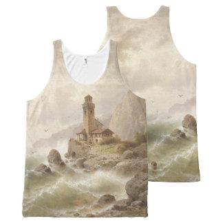Lighthouse Boat Ocean Waves Beacon Tank Top