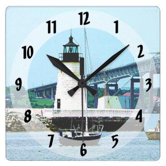 Lighthouse, Bridge and Boats, Newport, RI Square Wall Clock