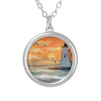 Lighthouse by sunset round pendant necklace