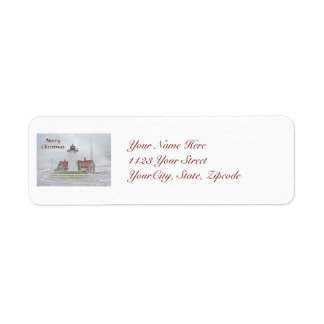 Lighthouse in Snow Merry Christmas Return Address Label