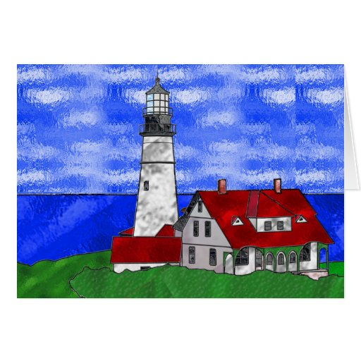 Lighthouse In Stained Glass Greeting Card