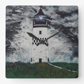 Lighthouse in the Storm Square Wall Clock