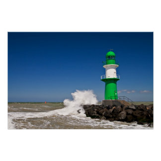 Lighthouse in Warnemuende on the Baltic Sea coast Poster