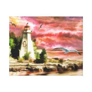 Lighthouse Ocean Coast At Sunset, Canvas Print