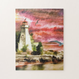 Lighthouse Ocean Coast At Sunset, Jigsaw Puzzle