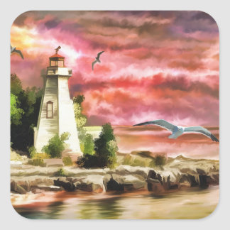 Lighthouse Ocean Coast At Sunset, Square Stickers