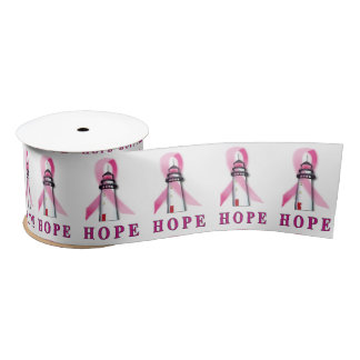 Lighthouse of Hope for a Breast Cancer Cure Satin Ribbon