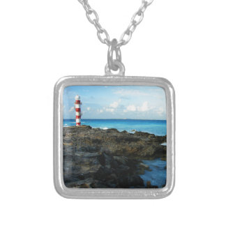 Lighthouse on a Mexican Beach Silver Plated Necklace