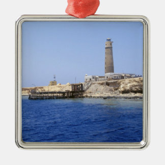 Lighthouse on Brother Islands, Red Sea, Egypt Silver-Colored Square Decoration