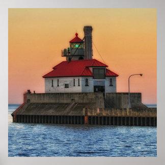Lighthouse on Lake Superior, Duluth Minnesota Poster