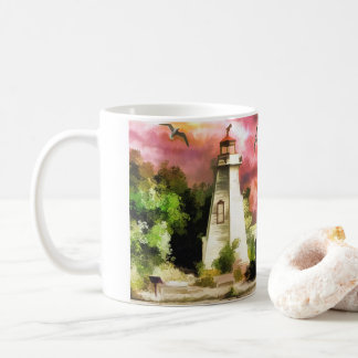 Lighthouse On Ocean Coast At Sunset Coffee Mug