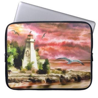 Lighthouse On Ocean Coast At Sunset, Laptop Sleeve