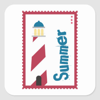 Lighthouse on the Seashore Square Stickers