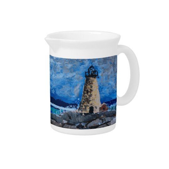 Lighthouse Painting Drink Pitcher