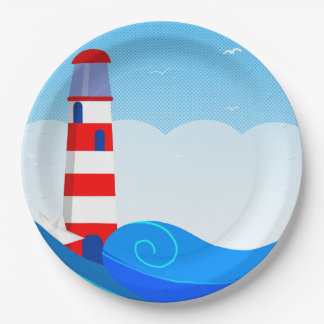 Lighthouse paper plate