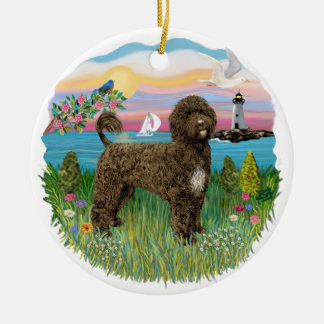 Lighthouse - Portuguese Water Dog #2 brown Ceramic Ornament