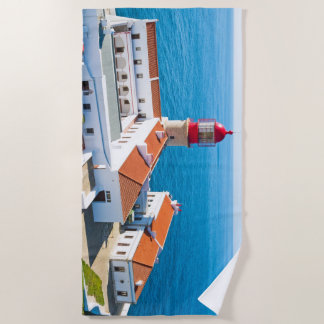 Lighthouse Sao Vicente in Sagres Portugal Beach Towel