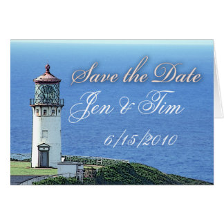 lighthouse save the date greeting card
