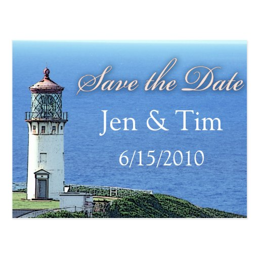 lighthouse save the date post card