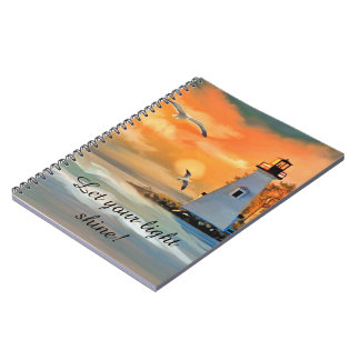 Lighthouse Seagull Sunset Personalized Notebook