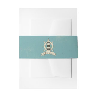 Lighthouse & Ship Anchor Nautical Teal Wedding Invitation Belly Band