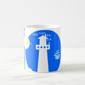 Lighthouse, ship basic white mug