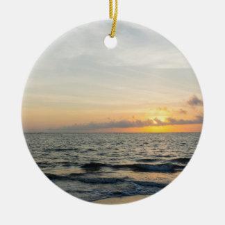 Lighthouse Sunrise Round Ceramic Decoration