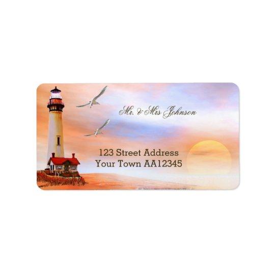Lighthouse Sunset Address Label