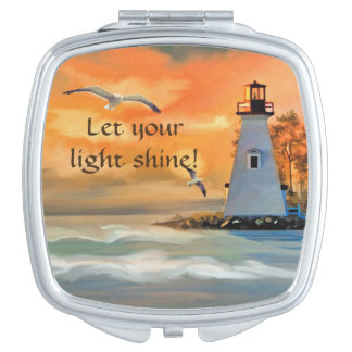 Lighthouse Sunset Bible Verse Compact Mirror