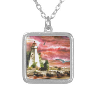 Lighthouse Sunset Square Pendant Necklace