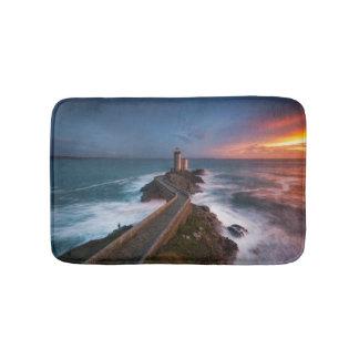 Lighthouse Sunset Plouzané | Finistère, Brittany Bath Mat