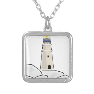 lighthouse tower design silver plated necklace