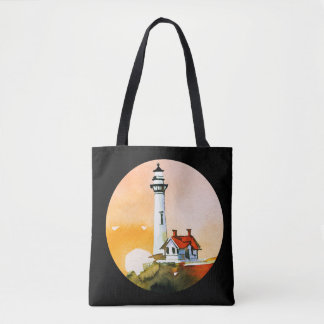 Lighthouse Vignette Tote Bag