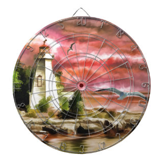 lighthouse water painting dartboard