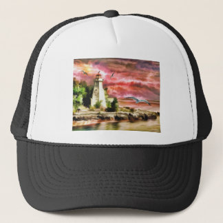 lighthouse water painting trucker hat