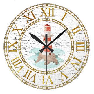 Lighthouse Weathered Finish Personalize Large Clock