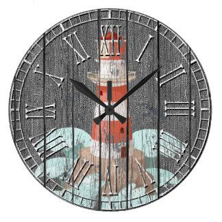 Lighthouse Weathered Pine Large Clock