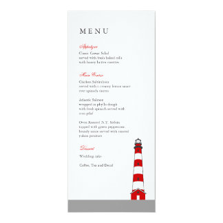 Lighthouse Wedding Menu Card