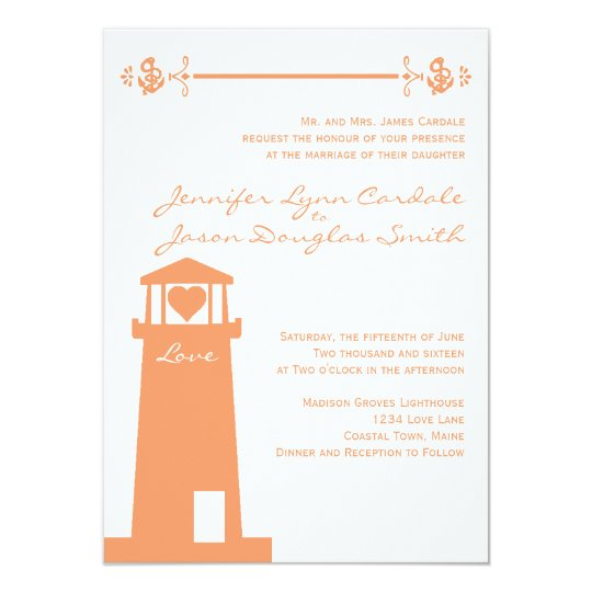 Lighthouse Wedding Venue Coral Nautical Invitation