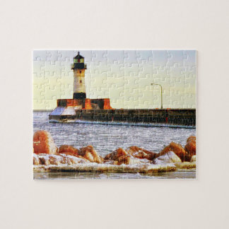Lighthouse Winter, Duluth Minnesota Jigsaw Puzzle