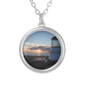 Lighthouse With Fall Sunset Lost Coast California Round Pendant Necklace