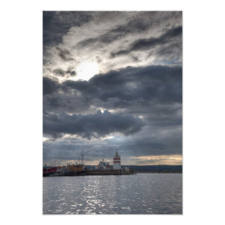 Lighthouse with heavy clouds art photo
