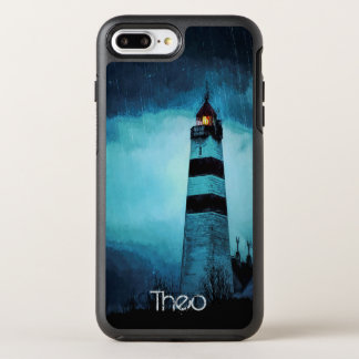 Lighthouse with light by night in pouring rain OtterBox symmetry iPhone 8 plus/7 plus case