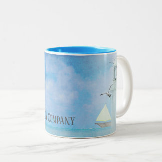 lighthouse with sailboat and gulls with name Two-Tone coffee mug