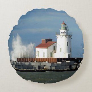 Lighthouse with Wave Round Pillow