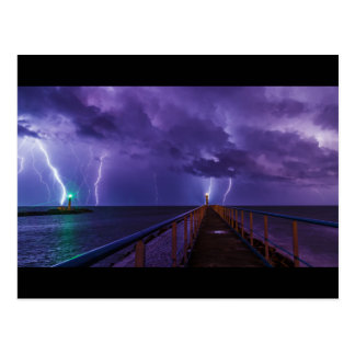 Lighthouses in a Thunderstorm with Purple Rain Postcard